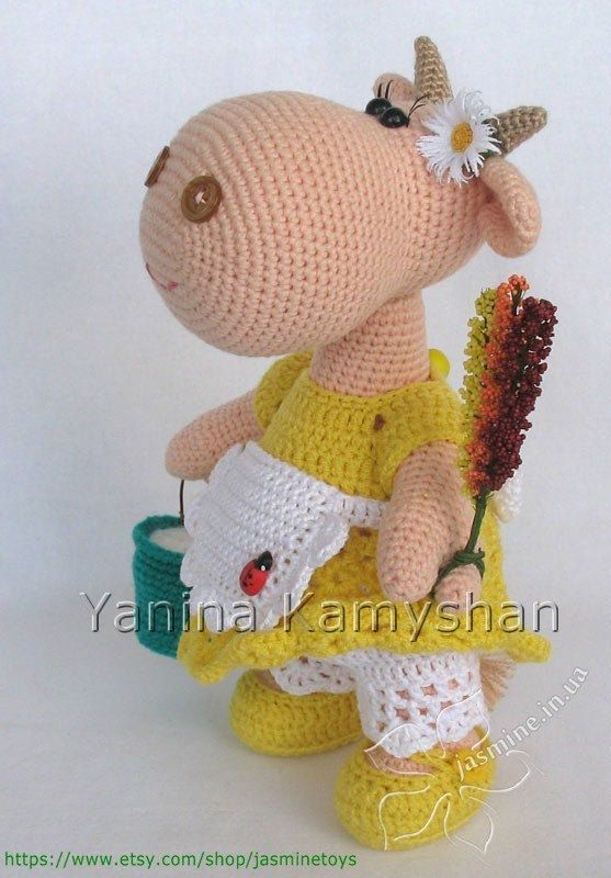 Moonica the Cow crocheted amigurumi PDF pattern von jasminetoys