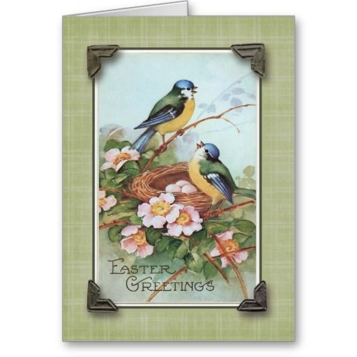 Easter Greetings Blue Bird Vintage Reproduction Holiday Card   Zazzle.com