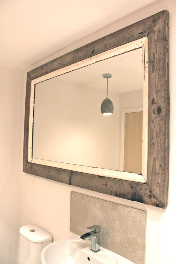 Reclaimed Scaffolding Board and Salvaged White Painted Picture Rail Frame with Mitred Corners - Unique Piece, but similar can be recreated !...