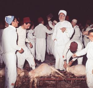 "Samaritanen. Eng. Samaritans. ""The sacrifice of the Passover lamb is conducted annually on Mt. Gerizim, in Nablus (ancient Shechem), in the West Bank, by the Samaritans, a religious group that split from Judaism by the second century B.C.E. The Samaritans retained the Torah (the Five Books of Moses) as their Scripture, although with some alterations. The Samaritan Bible refers to Mt. Gerizim, not Jerusalem, as the center of worship."""