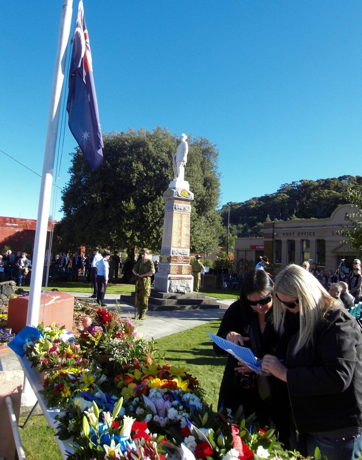 The wreaths waiting at the Cenotaph; Latrobe, ANZAC Day 2012.