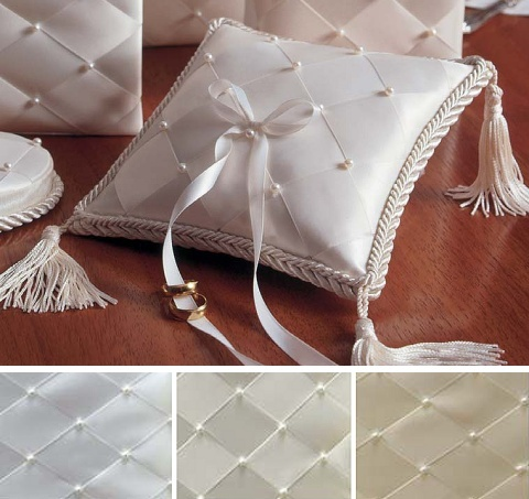 Woven Ribbon and Pearls Ring Bearer Pillow Wedding accessories.com