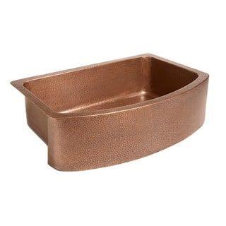 Sinkology Ernst Farmhouse Apron Bow Front Handmade Copper Sink 33 in. Single Bowl Kitchen Sink in Antique Copper