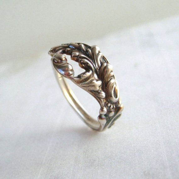 Antique Sterling Silver Spoon Ring Repurposed by Joyousworld