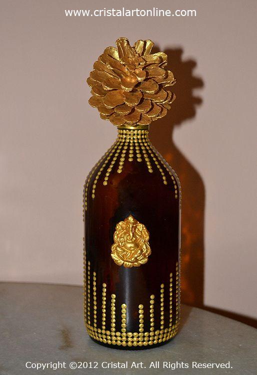 Cristal Art Blog: Little Ganesha idol on a decorated Medicine Bottle