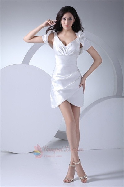 Elegant White Mini Dress With Jacket,Short V-Neck White Dress,White Mini Dress With Jacket