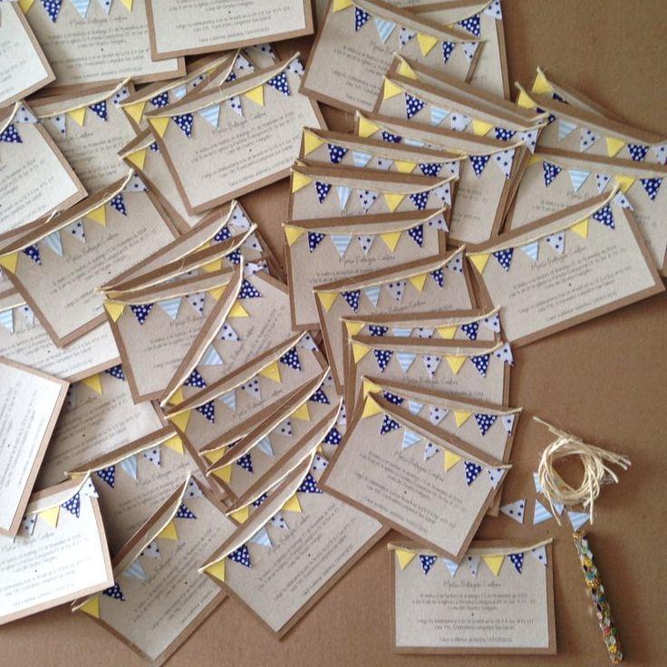 Invitaciones para bautizo · diseño · hand made · manualidad ·tarjetas de invitación