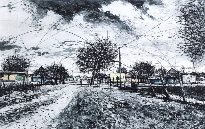 An original work by Phillemon Hlungwani entitled: Vusweti Byi Onga Malolo (Sometimes poverty can make you complacent) etching and watercolour 103 x 141cm For more please visit www.finearts.co.za