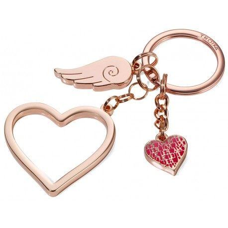 Breloc metalic cu 3 accesorii: inima mare, inima mica si aripa. Finisare rose-gold. Dimensiuni: 45 x 4 x 100 mmGreutate: 36gr