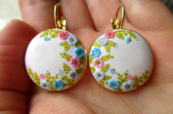Handmade Polymer Clay White Earrings Flower hook earring Women floral earring Birthday gift for Her Drop Embroidery Romantic for Women