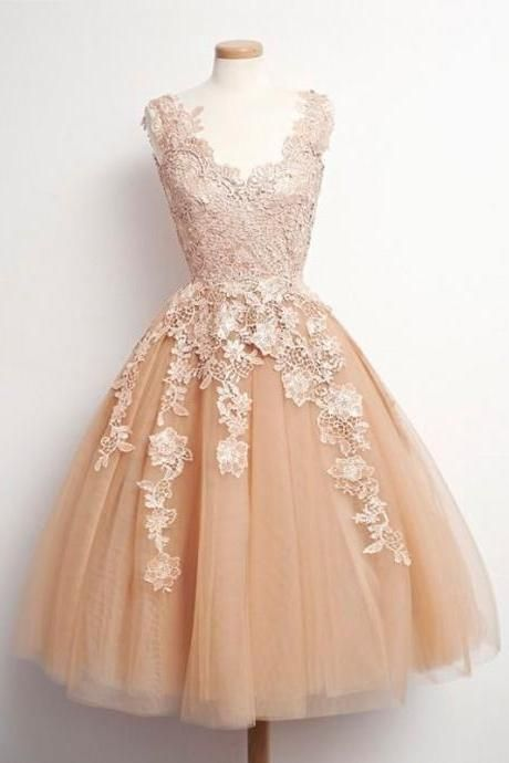 Short Homecoming Dress, Party Prom Dress, Lace Short Prom Dress, Cheap Prom Dress, Champagne Prom Dress, A-Line Prom Dress