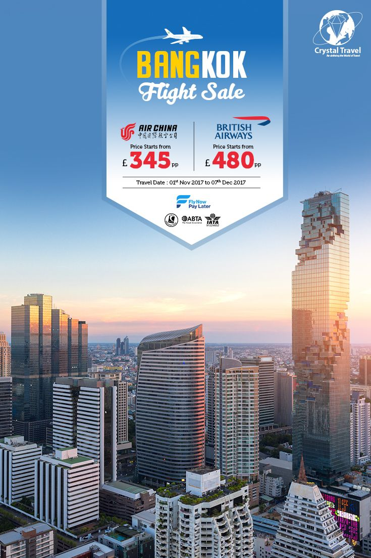 ✈️✈️ Fly to Bangkok from London at £345 pp  Traveling (1st Nov - 7 Dec'17) £345 (Now till Oct) ✔️ Fly Now Pay Later ☎️ 0203 515 1888 ABTA, ATOL Protected. *Pricing is subject to seat availability. #flight #sale #thailand #bangkok #crystaltravel