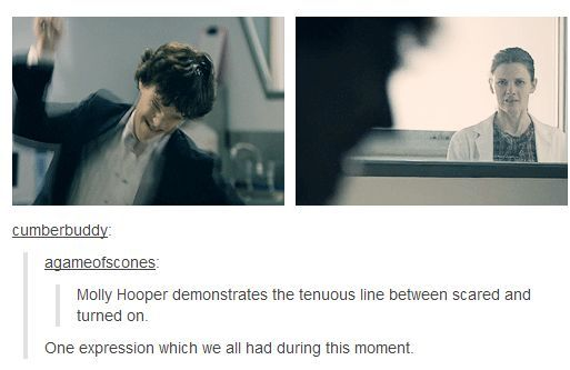 """Molly Hooper demonstrates the tenuous line between scared and turned on."""