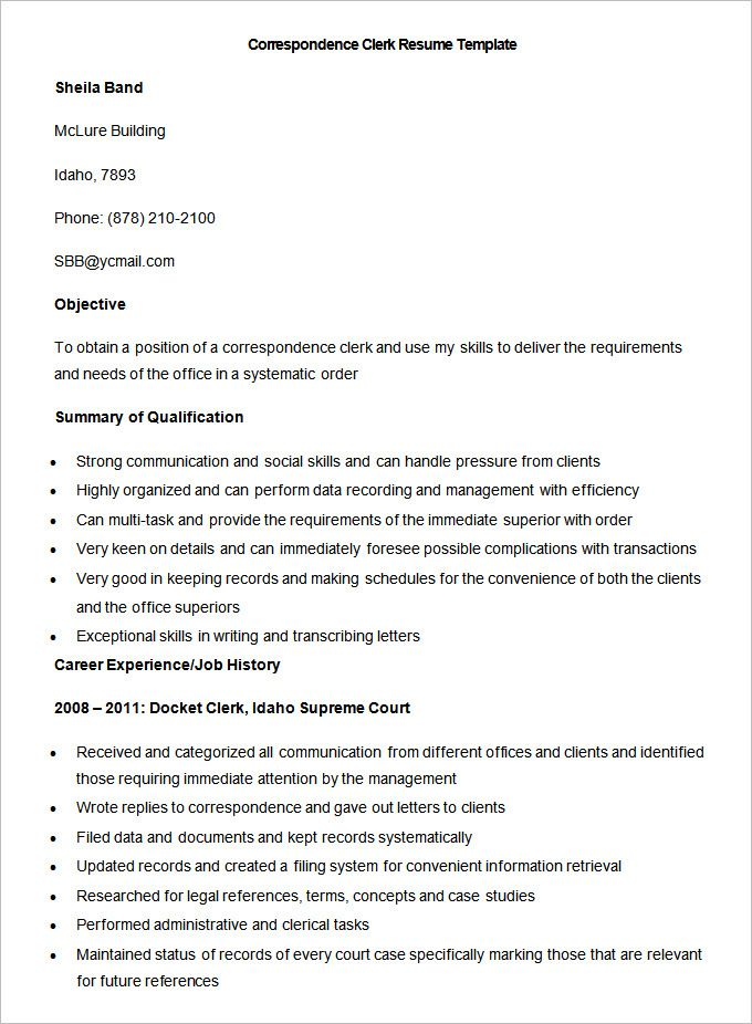 Sample Correspondence Clerk Resume Template Write Your Resume Much Easier With Sales Resume Examples Sal Sales Resume Examples Resume Examples Sales Resume