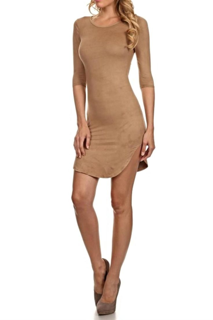 Faux suede bodycon dress with 3/4 sleeves and rounded hem. Style with thigh high boots and a wrist cuff to kill this look!   Suede Bodycon Dress by BRANDED. Clothing - Dresses - Mini Clothing - Dresses - Suede Clothing - Dresses - Night Out San Diego, California