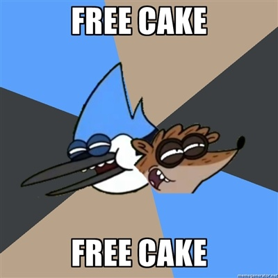 FREE CAKE FREE CAKE - Regular Show- print for by the cake-  Bray's welcome back party