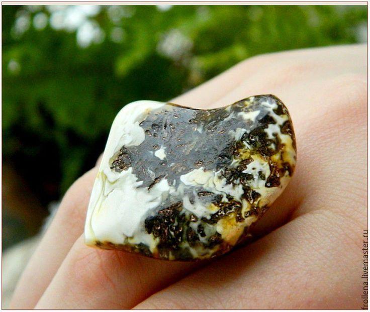 """Купить Янтарь. Кольцо """"Моя коровка""""  янтарь пейзажный - Янтарный, природный янтарь, янтарное кольцо"""