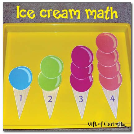 A free printable ice cream math game to help young children work on basic number recognition and counting skills.
