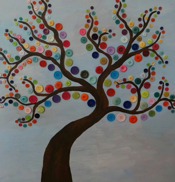 Knopenboom: gebruik hiervoor verschillende kleuren en groottes.