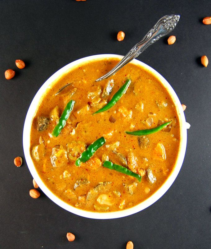 Vegan African Peanut Stew. A delicious pot of peanut soup or stew with bits of okra, eggplant and sweet potatoes floating in it. Vegan and gluten-free.