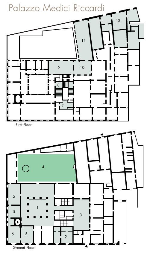 Palazzo medici riccardi floor plan 1 courtyard 2 for Apartment plans with courtyard