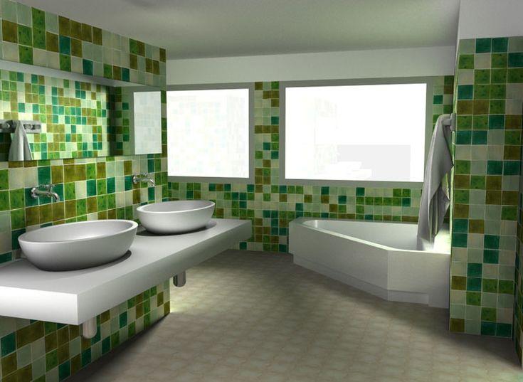 Bano verde25 arquitectura moderna y decoracion pinterest azulejos para ba os la ceramica - Combinaciones de colores de ceramicas para banos ...
