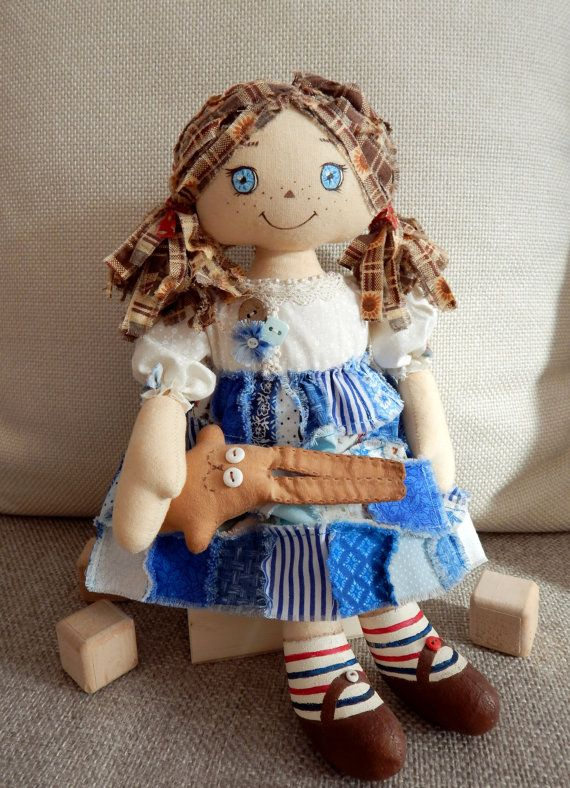 Primitive Handmade Soft Doll Raggedy Ann by Cloud9HomeMade on Etsy