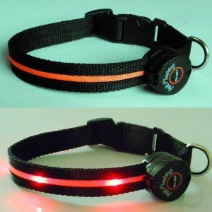 This collar will help others see both you and your dog while out on walks at night or in the dark! The collar were designed with you in mind and used top quality components. What makes Dogs in Play collars unique? Three different light settings - Steady, Slow or Quick Flashing. Lightweight for your dog's maximum comfort. Nylon webbing over the light strip for maximum durability and protection from water. LED lights are ORANGE and very bright to provide visibility up to 1,000