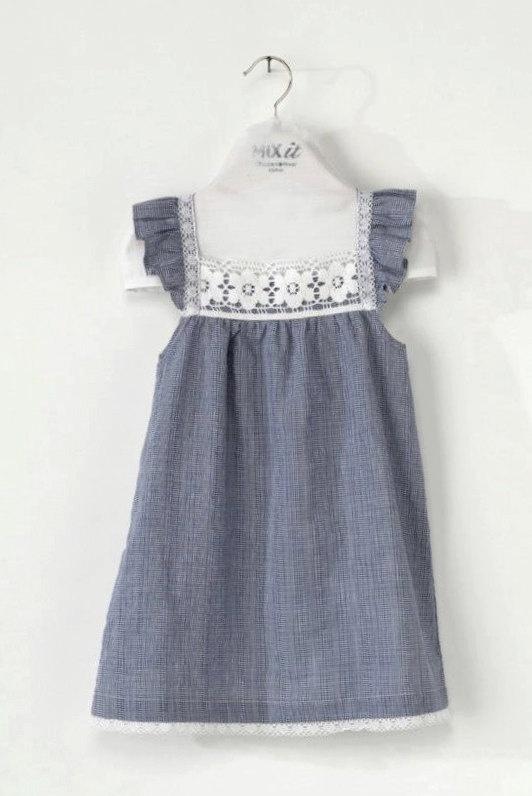 Blue & white gingham DRESS