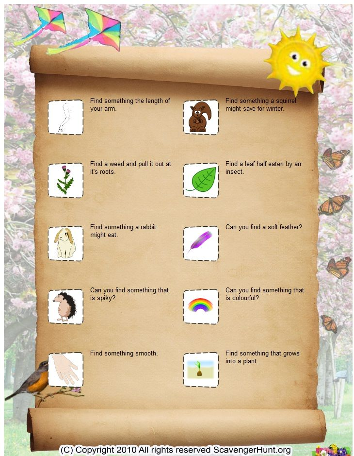 Nature Detectives-scavenger hunt  list