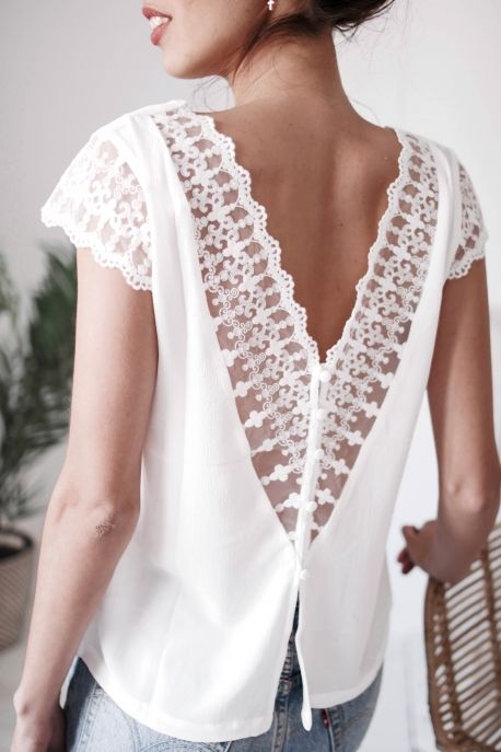 Great White lace top neckline in the back