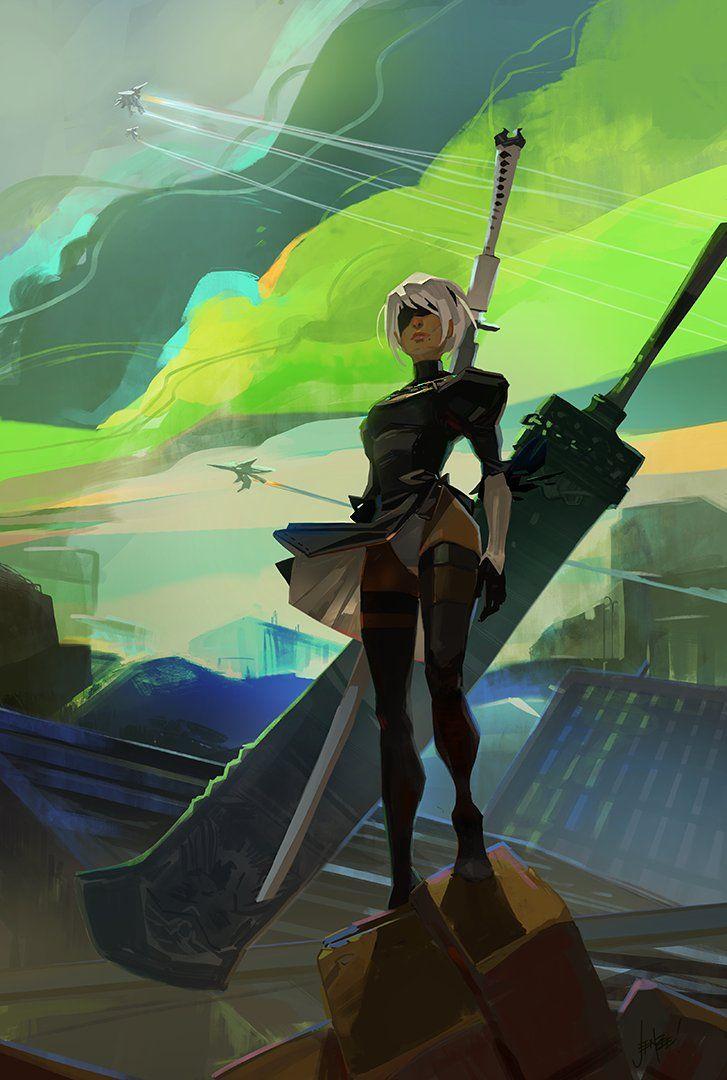 NieR: Automata fan art by Jen Zee, the Art Director of Supergiant Games (Bastion, Transistor, Pyre)
