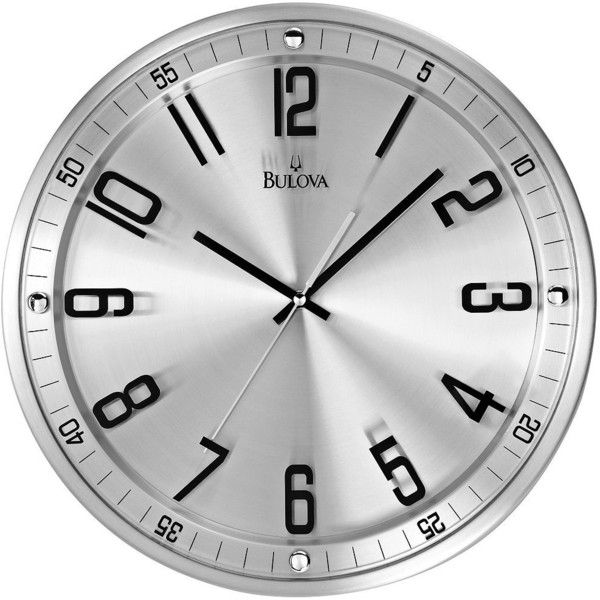 """Bulova Silhouette 13"""" High Stainless Steel Wall Clock (€65) ❤ liked on Polyvore featuring home, home decor, clocks, battery powered wall clock, stainless steel wall clock, bulova, dial clocks and contemporary modern wall clocks"""