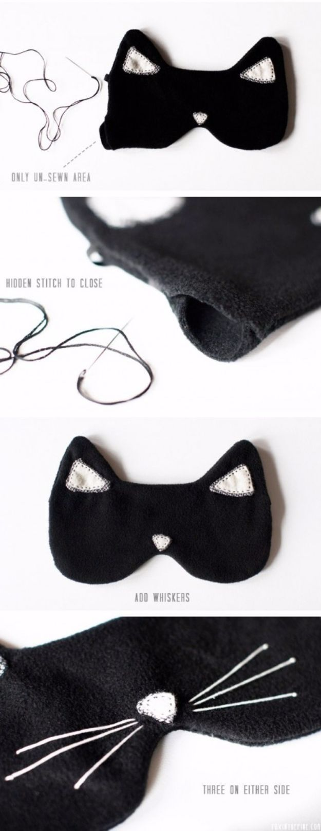 DIY Gifts To Sew For Friends - DIY Cat Eye Sleeping Mask - Quick and Easy Sewing Projects and Free Patterns for Best Gift Ideas and Presents - Creative Step by Step Tutorials for Beginners - Cute Home Decor, Accessories, Kitchen Crafts and DIY Fashion Ideas http://diyjoy.com/diy-gifts-to-sew-for-friends
