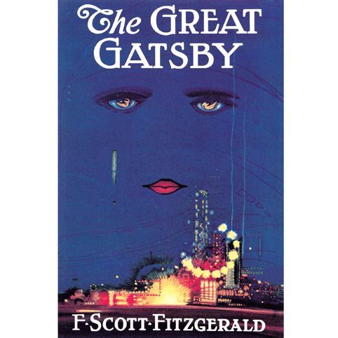 "The Great Gatsby by F. Scott Fitzgerald Poster: classic cover art by Francis Cugat from the first edition. The cover was finished before the novel, and Fitzgerald liked it so much he told his publisher he had ""written it into"" the book."