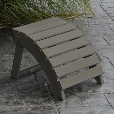 Outdoor A & L Furniture Yellow Pine Folding Ottoman Olive Gray - 670-OGP OLIVE GRAY