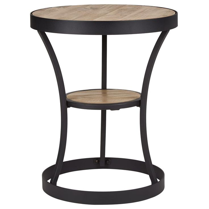 wood and metal round side table with shelf - Side Tables For Living Room