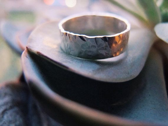 Hammered Band Ring Wide Band Ring Hammered by WildFawnJewellery