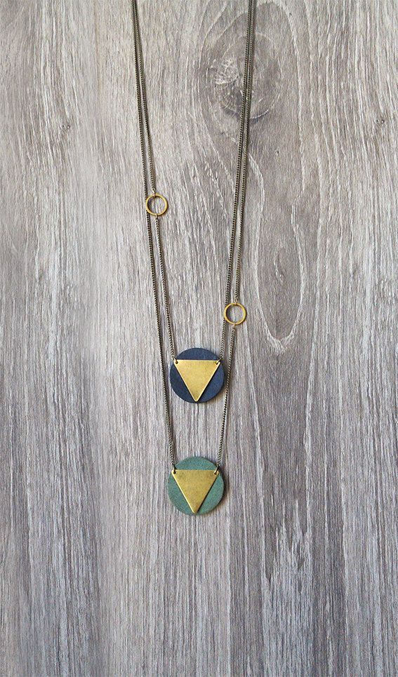 Geometric Gold Triangle Brass Necklace with Leather. Long Chevron Necklace. Minimalist Necklace