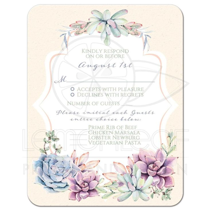 Best pastels peach, green, blue, pink and lavender wedding rsvp response reply enclosure card insert with cacti and succulents.