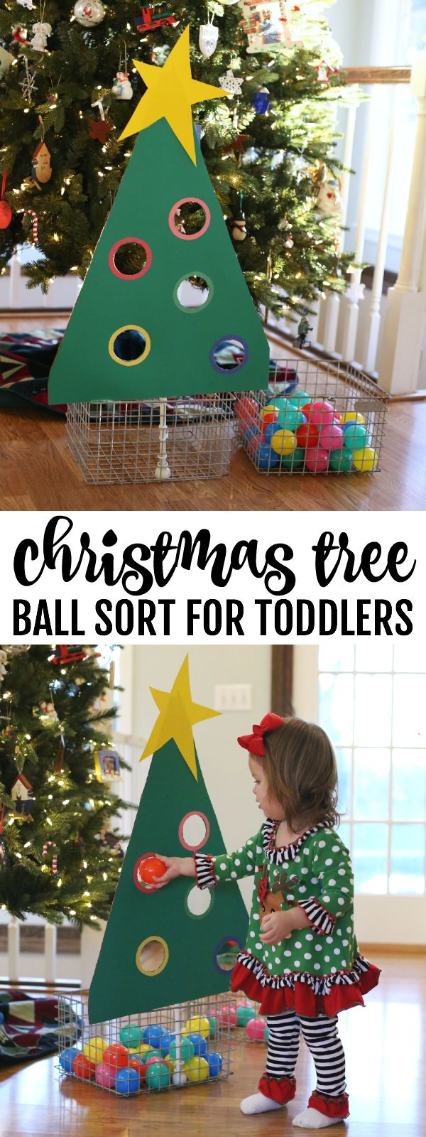 Toddler Christmas Craft Ideas Part - 21: Christmas Tree Ball Sort For Toddlers
