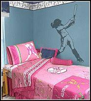 Fastpitch Softball Bedding | ... bedroom decor - sports bedding - girls sports wall mural stickers