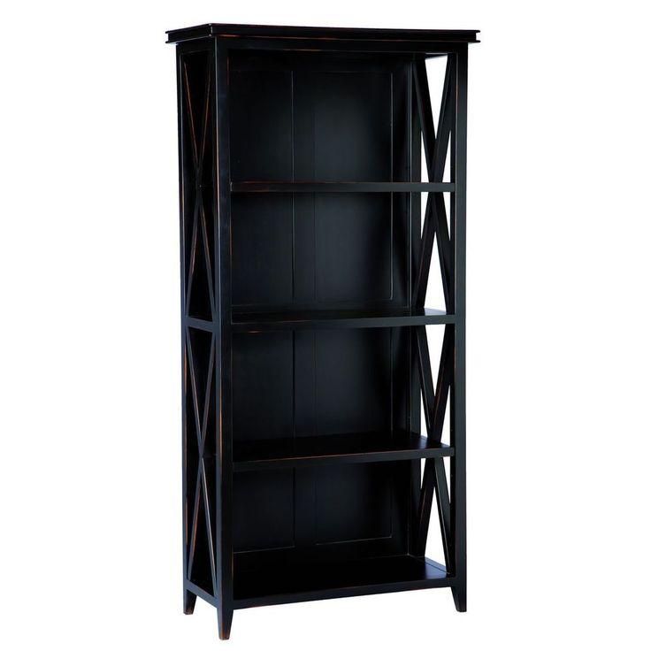 Wooden Tall Bookcase 4 Shelf Black Mahogany Colour Storage Living Room Furniture