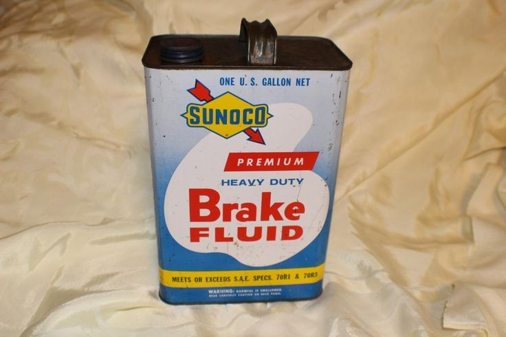 Early Vintage Sunoco One Gallon Oil Can Brake Fluid Fine Original Condition