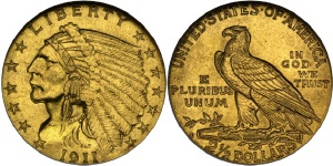 Indian Head Quarter Eagle $2.50 US Gold Coin Values