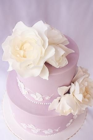 Lilac and lace wedding cake by sweet.dreams