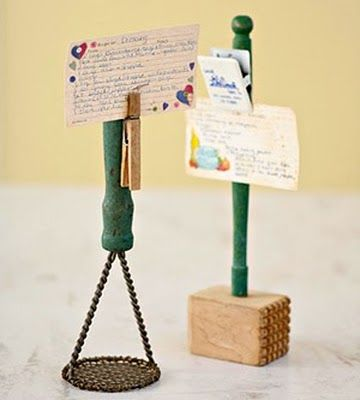 Kitchen tool recipe holder - could be used as a wedding place card or table number holder! :) {bellamansion}