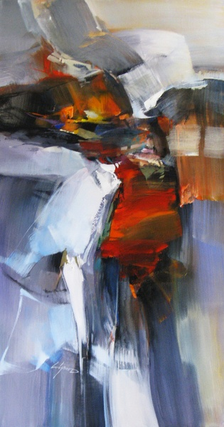 Wilfred - Abstract 48x24 Acrylic on Canvas (13-23139)