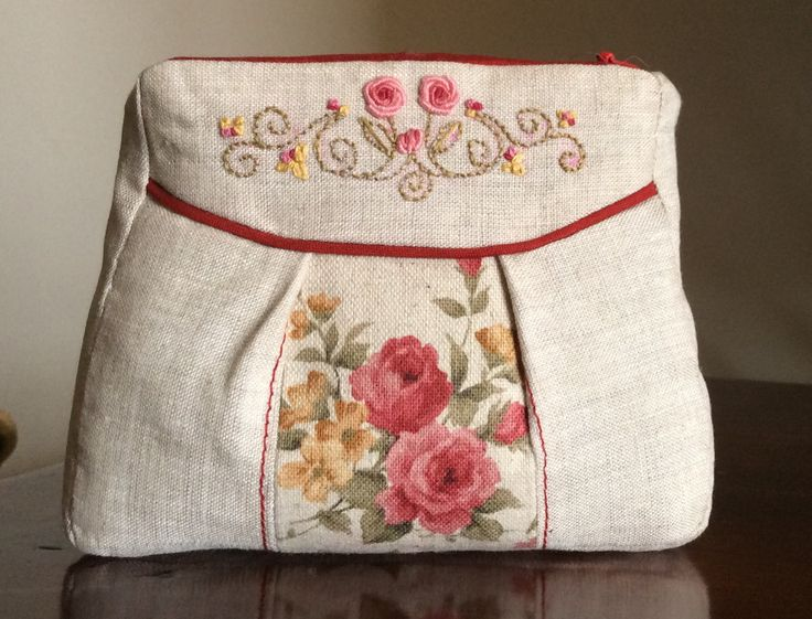 Small Cosmetic or Coin Purse, featuring Embroidery.