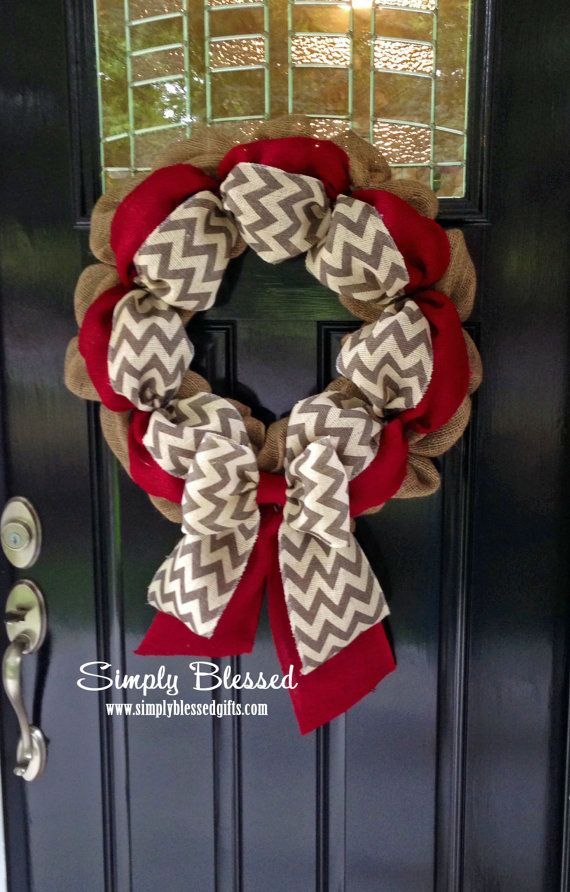 This wreath combines 2 of this years favorite trends....burlap and chevron! The wreath is the perfect size for your front door or to use as an